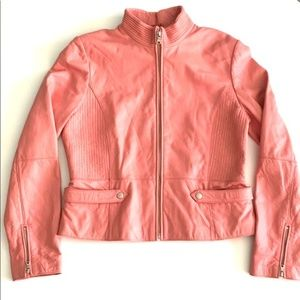 Kenneth Cole Pink Leather Moto Zip Front Jacket